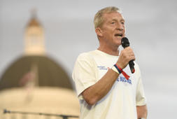 Tom Steyer speaks during the Imagine Justice concert at Capitol Mall on August 21, 2017 in Sacramento, California.