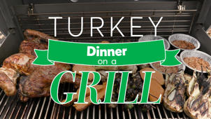 a close up of food on a grill: Thanksgiving Turkey Dinner on a Grill