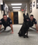 Adorable police dog does push-ups with officers