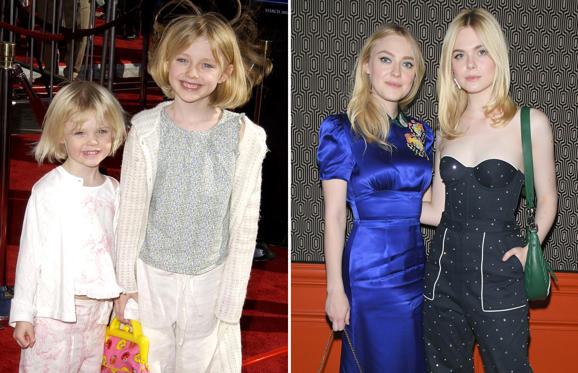 30 枚のスライドの 1 枚目: Elle Fanning & Dakota Fanning at the The Shrine Auditorium in Los Angeles, California (Photo by Steve Granitz/WireImage); PARIS, FRANCE - OCTOBER 03: Dakota Fanning and Elle Fanning attend the Miu Miu aftershow party as part of the Paris Fashion Week Womenswear Spring/Summer 2018 at Boum Boum on October 3, 2017 in Paris, France. (Photo by Dominique Charriau/Getty Images)