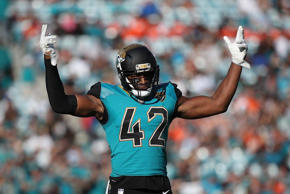 JACKSONVILLE, FL - NOVEMBER 05:   Barry Church #42 of the Jacksonville Jaguars celebrates a play on the field in the second half of their game against the Cincinnati Bengals at EverBank Field on November 5, 2017 in Jacksonville, Florida.  (Photo by Logan Bowles/Getty Images)