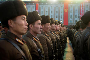 North Korean soldiers in Pyongyang on Dec. 1 attend a mass rally to celebrate the North's declaration it had achieved full nuclear statehood.