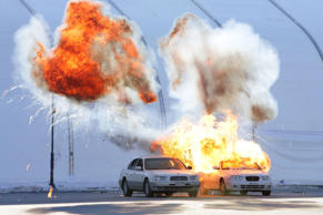 Cars explode during a anti-terror drill at the Olympic Staduim, venue of the Opening and Closing ceremony, on December 12, 2017 in Pyeongchang-gun, South Korea.