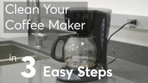 a bottle with a white sign with black text: Clean Your Coffee Maker in 3 Easy Steps