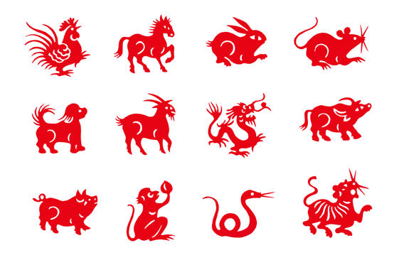 Slide 1 af 25: Red handmade cut paper chinese zodiac animals isolated on white background