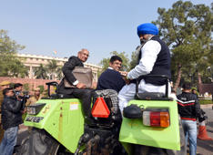 Image of the day: MP comes to parliament in a tractor