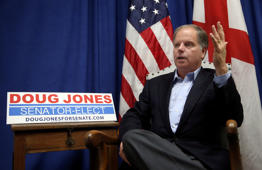 In this photo taken Wednesday, Dec, 13, 2017, Democrat Doug Jones speaks during an interview with the Associated Press, in Birmingham, Ala.