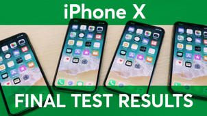 a screenshot of a cell phone sitting on a table: iPhone X Final Test Results