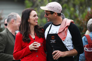 Labour Leader Jacinda Ardern and her partner Clarke Gayford host a bbq at their house on September 24, 2017 in Auckland, New Zealand. New Zealand's National Party has won the most votes in the general election but not by enough to form a government.