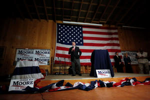 Former Alabama Chief Justice and U.S. Senate candidate Roy Moore speaks at a campaign rally, Tuesday, Dec. 5, 2017, in Fairhope, Ala.
