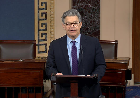 In this image from video from Senate Television, Sen. Al Franken, D-Minn., speaks on the Senate floor of the Capitol in Washington, Thursday morning, Dec. 7, 2017.