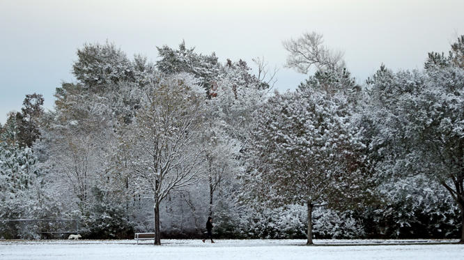 Slide 1 of 61: A woman passes snow-covered trees as she walks along a path at Meyer Park on Dec. 8.