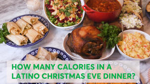 a plate of food on a table: How Many Calories in a Latino Christmas Dinner?