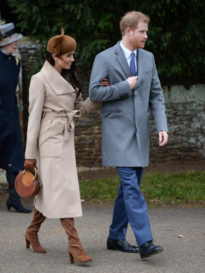 Meghan Markle and Prince Harry leaves the Christmas Day morning church service at St Mary Magdalene Church in Sandringham, Norfolk.