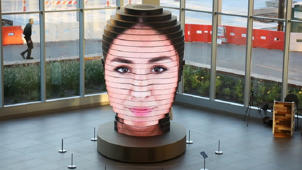This 14-foot sculpture displays larger-than-life selfies