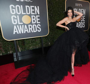 BEVERLY HILLS, CA - JANUARY 07:  75th ANNUAL GOLDEN GLOBE AWARDS -- Pictured: Model Kendall Jenner arrives to the 75th Annual Golden Globe Awards held at the Beverly Hilton Hotel on January 7, 2018.  (Photo by Neilson Barnard/NBCUniversal/NBCU Photo Bank via Getty Images)