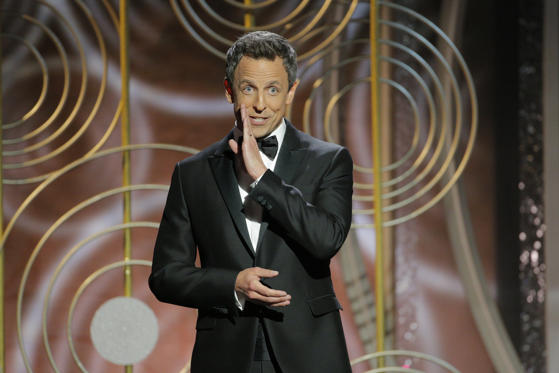 Slide 1 of 33: Seth Meyers hosts the 75th Golden Globe Awards in Beverly Hills, California, U.S. January 7, 2018.      Paul Drinkwater/Courtesy of NBC/Handout via REUTERS ATTENTION EDITORS - THIS IMAGE WAS PROVIDED BY A THIRD PARTY. NO RESALES. NO ARCHIVE. For editorial use only. Additional clearance required for commercial or promotional use, contact your local office for assistance. Any commercial or promotional use of NBCUniversal content requires NBCUniversal's prior written consent. No book publishing without prior approval. - RC156C01D730