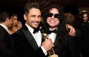 Actors James Franco (L) and Tommy Wiseau attend the 2018 InStyle and Warner Bros. 75th Annual Golden Globe Awards Post-Party