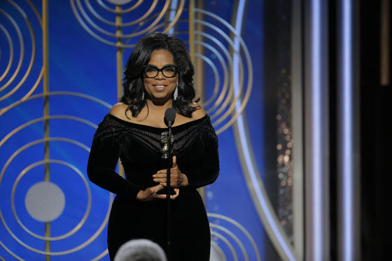 Slide 1 of 25: BEVERLY HILLS, CA - JANUARY 07: In this handout photo provided by NBCUniversal, Oprah Winfrey accepts the 2018 Cecil B. DeMille Award speaks onstage during the 75th Annual Golden Globe Awards at The Beverly Hilton Hotel on January 7, 2018 in Beverly Hills, California. (Photo by