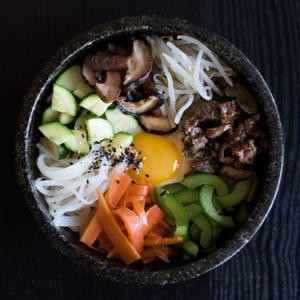 a bowl of food: Mixed Rice with Vegetables & Beef (Bibimbap)