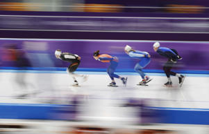 Skaters practice at the Gangneung Oval during a speed skating training session prior to the 2018 Winter Olympics in Gangneung, South Korea, Thursday, Feb. 8, 2018.