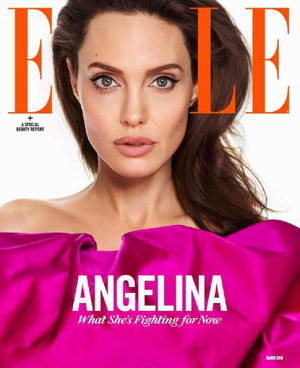 Angelina's interview appears in the March issue of Elle (Image: Andres Kudacki)