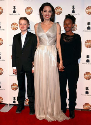 Angelina Jolie was joined by Shiloh and Zahara at a recent awards ceremony in Los Angeles (Image: Getty Images North America)