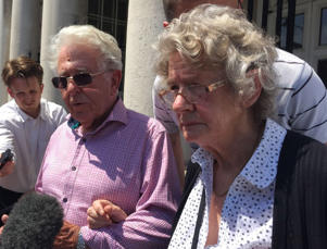 Susan Nicholson's parents, Peter and Elizabeth Skelton, outside Lewes Crown Court