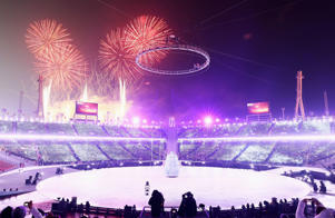 PYEONGCHANG-GUN, SOUTH KOREA - FEBRUARY 09: Fireworks explode during the Opening Ceremony of the PyeongChang 2018 Winter Olympic Games at PyeongChang Olympic Stadium on February 9, 2018 in Pyeongchang-gun, South Korea. (Photo by Jamie Squire/Getty Images)