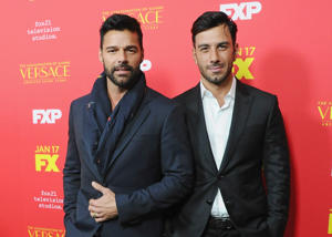 HOLLYWOOD, CA - JANUARY 08: Ricky Martin and Jwan Yosef attend the Los Angeles Premiere 'The Assassination Of Gianni Versace: American Crime Story' at ArcLight Hollywood on January 8, 2018 in Hollywood, California. (Photo by Jon Kopaloff/FilmMagic)