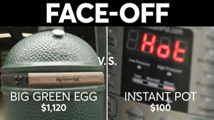 a close up of a sign: Super Bowl Showdown: Instant Pot vs. The Big Green Egg