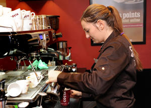 It's a grind… a Costa barista at work