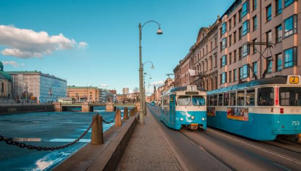 Blue trams travelling through the streets of Gothenburg (Getty Images/iStock/Alicia_Garcia)