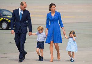 Duke and Duchess of Cambridge, Prince George and Princess Charlotte departing from Chopin airport, in Warsaw, on day three of their five-day tour of Poland and Germany.