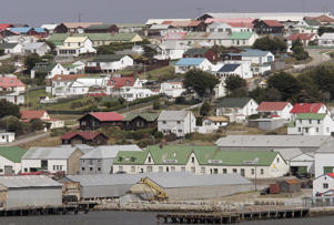 Houses and government buildings dominate Stanley on February 2, 2007 in The Falkland Islands.