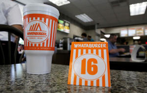File photo of a Whataburger tent order number sits on a table in Dallas.