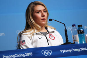 United States skier Mikaela Shiffrin attends her press conference at the Main Press Centre the PyeongChang 2018 Winter Olympic Games on February 10, 2018 in Pyeongchang-gun, South Korea.