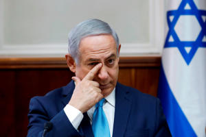 Israeli Prime Minister Benjamin Netanyahu attends a cabinet meeting at the Prime Minister's office in Jerusalem on February 11, 2018.
