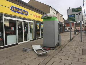 The scene outside Heron Foods on Cockerton Green, Darlington, after thieves blew up a cash machine four months after a similar raid obliterated an ATM in the same town.