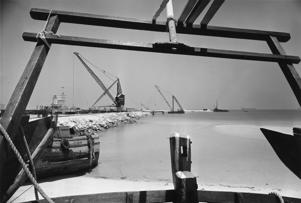 A view of the deep water harbor being constructed in Dubai, circa 1970.