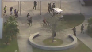 Students fleeing Douglas High School in Parkland, Florida