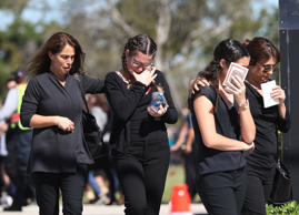 NORTH LAUDERDALE, FL - FEBRUARY 16:  Mourners are seen at the funeral of Alyssa Alhadeff at the Garden of Aaron at Star of David Memorial Gardens on February 16, 2018 in Parkland, Florida. Alhadeff was one of 17 people killed in the February 14 shooting at Marjory Stoneman Douglas High School. Former student Nikolas Cruz has been arrested and charged for the 17 murders.  (Photo by Joe Raedle/Getty Images)