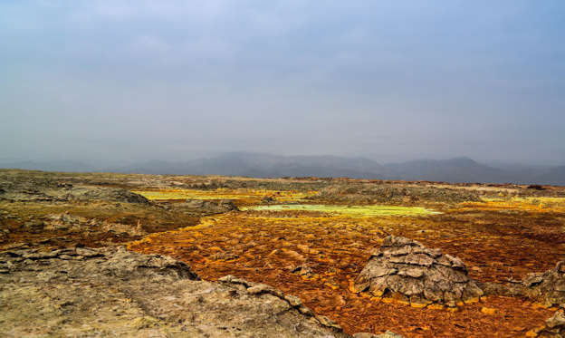Slide 1 of 19: Panorama inside Dallol volcanic crater in Danakil depression, Afar, Ethiopia