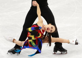 Madison Chock and Evan Bates of the US compete in the Ice Dance Short Dance of the Figure Skating competition at the Gangneung Ice Arena during the PyeongChang 2018 Olympic Games, South Korea, 19 February 2018.