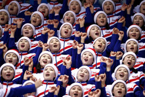 North Korean cheerleaders at the Women's 1000m Competition during the Pyeongchang 2018 Winter Olympics on Feb. 20.