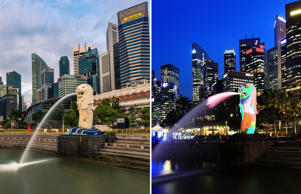 Singapore, Singapore - September 18 : A General View of Singapore Skyline from Merlion Park at Sunrise on September 18, 2016 in Singapore, Singapore. (Photo by Rustam Azmi/Getty Images); SINGAPORE - MARCH 28: A general view of the Merlion and the central business district skyline on March 28, 2012 in Singapore. Singapore expects a slowdown in tourist arrival, with a forecast growth of 2.3 percent in 2012 as compared to 13 percent in 2011, according to the local media. (Photo by Suhaimi Abdullah/Getty Images)