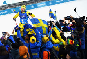 PYEONGCHANG-GUN, SOUTH KOREA - FEBRUARY 23:  Fredrik Lindstroem of Sweden heads along the finish straight on the way to winning the gold medal during the Men's 4x7.5km Biathlon Relay on day 14 of the PyeongChang 2018 Winter Olympic Games at Alpensia Biathlon Centre on February 23, 2018 in Pyeongchang-gun, South Korea.  (Photo by Matthias Hangst/Getty Images)
