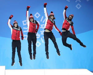 PYEONGCHANG, Feb. 23, 2018  -- Third-placed team Canada celebrate during medal ceremony of men's 5000m relay of short track speed skating at the 2018 PyeongChang Winter Olympic Games at Medal Plaza, PyeongChang, South Korea, Feb. 23, 2018. (Xinhua/Bai Xuefei via Getty Images)