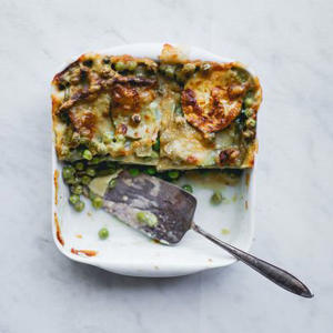 a close up of food: Green Vegetables Lasagna with Zucchini, Peas, and Green Beans