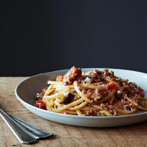 a plate of food: Nigel Slater's Really Good Spaghetti Bolognese